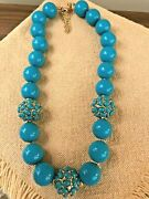 New Kenneth Jay Lane Designer Jewelry - Magnificent Created Turquoise Necklace