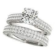 Real 1.08 Ct Diamond Womenand039s Wedding Band Set 18k Solid White Gold Size 5 6 8.5