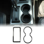Gear Shift Panel Trim And Cup Holder Bezel For Ford F150 2009-2014 Carbon Fiber