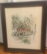 Colonial Court House Williamsburg 28.5andrdquox24andrdquo Framed Lithograph John Haymson