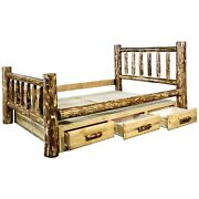 King Storage Log Bed With Drawers Amish Made Beds Montana Lodge Cabin Furniture