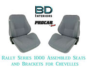 Rally 1050 Series Assembled Seats And Brackets 80-1050-62 For 1964 -1977 Chevelle