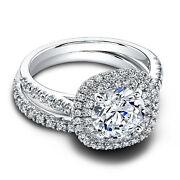 1.10 Ct Real Diamond Engagement Band Sets 14k Solid White Gold Ring Size 5.5 6 7