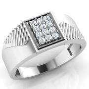 0.26 Ct Diamond Ring Hallmarked 14k Solid White Gold Mens Ring Size 11