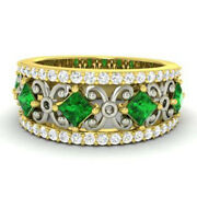 1.40 Ct Real Diamond Emerald Wedding Band 14k Solid Yellow Gold Rings Size 6 6.5
