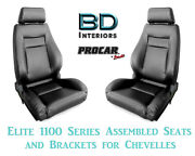 Elite 1100 Series Assembled Seats And Brackets 80-1100-51 For 1964 -1977 Chevelle
