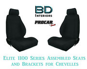 Elite 1100 Series Assembled Seats And Brackets 80-1100-61 For 1964 -1977 Chevelle