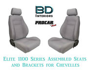 Elite 1100 Series Assembled Seats And Brackets 80-1100-62 For 1964 -1977 Chevelle