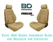 Elite 1100 Series Assembled Seats And Brackets 80-1100-67 For 1964 -1977 Chevelle