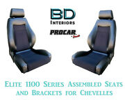 Elite 1100 Series Assembled Seats And Brackets 80-1100-71 For 1964 -1977 Chevelle