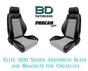 Elite 1100 Series Assembled Seats And Brackets 80-1100-73 For 1964 -1977 Chevelle