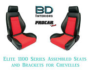 Elite 1100 Series Assembled Seats And Brackets 80-1100-90 For 1964 -1977 Chevelle