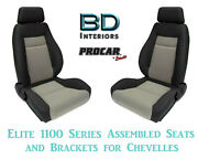 Elite 1100 Series Assembled Seats And Brackets 80-1100-75 For 1964 -1977 Chevelle