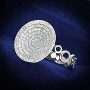 Ladies Circle Ring Cz Sterling Silver Pave Super Sparkling Handmade New S121