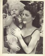 Vintage Old 1940s Photo Of Pretty Woman In Swimsuit Holding Son In Cloth Diapers