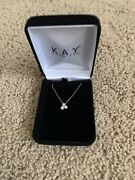 Kay Jewelers 3-stone Diamond Necklace 1/4 Ct Tw Round-cut Sterling Silver New