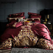 1000tc Luxury Egyptian Quilt Cover Set Sheet Pillowcase Chic Embroidery Bedding