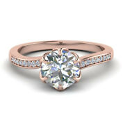 Christmas Sale Natural Diamond Ring Round Cut 0.60 Ct 14k Rose Gold Size 5 6 7 8