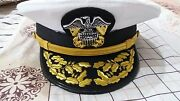 New Wwll Us Navy Officer Hat Repro , Us Navy Admiral Visor Cap In All Sizes
