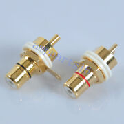 2pairs Gold Plated Female Chassis Panel Mount Rca Jack Connector Guitar Amp