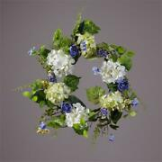 New French Country Summer Blue Rose White Hydrangea Wreath Floral Decor 21