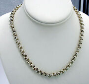 Estate Vintage Bright Sterling Silver Thick Chain 57.8 Gram Rolo Link Necklace