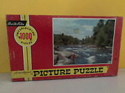 Antique Jigsaw Puzzle Fly Fishing River Scene 1000 Pieces Built Rite