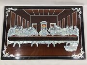 Vintage Chinese Andldquothe Last Supperandrdquo Carved Mother Of Pearl Lacquer Picture