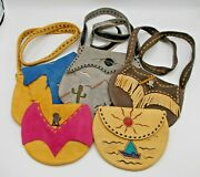 Real Leather Purse / Pouch Lot 5 Bags Desert Western Cactus Sun Cowboy Cowgirl