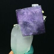 68g Natural Purple Transparent Cube Fluorite And Galena And Mica Andcrystal Cluster