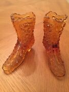 Pair Of Vintage Fenton Amber Pressed Glass Daisy And Button Trinket Boot