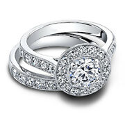 1.80 Ct Real Diamond Wedding Band Sets 14k Solid White Gold Rings Size 5.5 6.5 8