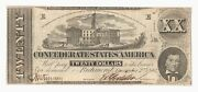 """T-51 1862 20 Csa """"tennessee Capitol"""" Confederate States Of America Note"""