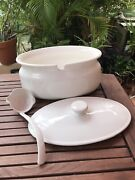 1980and039s Vintage Large Soup Tureen White Ceramic W/ Lid And Ladle