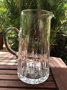 1970and039s Vintage Heavy Clear Cut Glass Etched Pitcher 8 3/4