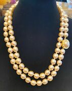 Vintage Karl Lagerfeld Baroque Glass Pearl 48 In Necklace
