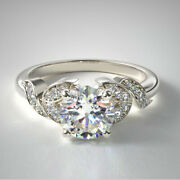 0.65 Ct Round 950 Platinum Real Diamond Engagement Ring For Women Size 5 6 7 8 9
