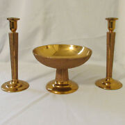 Arts And Crafts Textured Cast Solid Brass Centerpiece Bowl And Pair Of Candlesticks