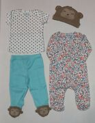 Carter's 4 Piece Set For Girls 3 6 Or 9 Months Monkey Theme Discontinued Neon