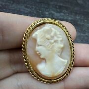 Mamas Estate Vintage Carved Shell Cameo Brooch Pin F8-1