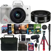 Canon Eos M50 Mirrorless Camera White With 15-45mm + Ef-m 22mm Lens 64gb Kit