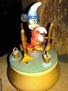 Mickey Sorcerer Anri Ltd.ed. Turning Wooden Music Box, Hand Painted,carved,w/coa