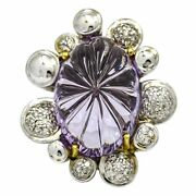 Carved Amethyst Diamond Statement Ring In 18k White Gold .50 Ct Tw