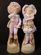 1800and039s Children German Porcelain Bisque Figurine Statue Piano Baby Girl Boy Pair