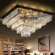 Creative Modern Living Room Continental Iron Square Led Crystal Chandelier Light