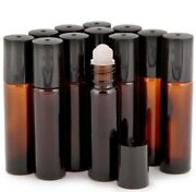 Amber Glass Roll On 10 Ml Essential Oil Refillable Perfume Bottles Case Of 600