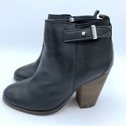 Coach Hewes Safari Ankle Boots Black Booties Stacked Heels Side Zip Sz 5.5