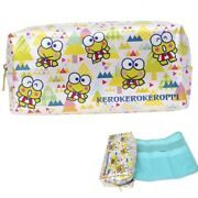 Keroppi 2-in-1 Pouch Pen Pencil Holder Makeup Tool Bag W/ Removable Roll Up Case