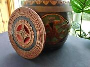 Rare Antique Hand Carved Painted Chinese Rice Barrel