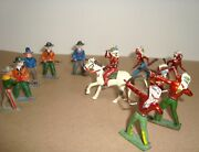 Vintage 11 Cowboys And Indians Cast Metal Figures Some Marked England